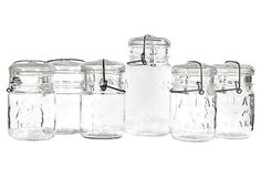1960s Kitchen Glass Canning Jars, S/6