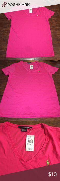 Pink Polo V-Neck Shirt Short sleeve pink v-neck shirt. With green polo horse. Ralph Lauren Tops Tees - Short Sleeve