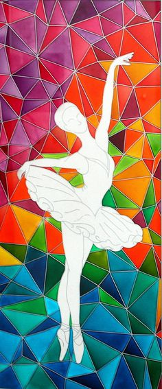 Items similar to Ballerinas Contemporary Painting on Glass-Original Dancer Painting-Stain Glass Panel-Polygonal Art Dancing Girl-Polygon Dancer Picture on Etsy Stained Glass Paint, Stained Glass Panels, Glass Painting Designs, Paint Designs, Painting On Glass, Contemporary Kitchen Design, Contemporary Decor, Farmhouse Contemporary, Contemporary Stairs