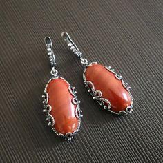 Earrings red jasper Long earrings Carved frame Natural stone Russian necklace Free shipping