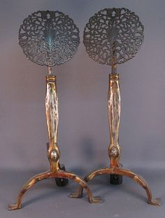 Gilt Bronze Andirons - Art Nouveau, French-Style. #antique #vintage #appraisal