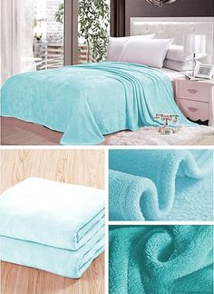 Błękitne koce na łózko do sypialni