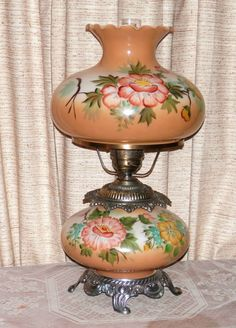 VTG HAND PAINTED CARMEL & YELLOW ROSES GWTW 3-WAY ELECTRIC LIGHT LAMP NICE COND!