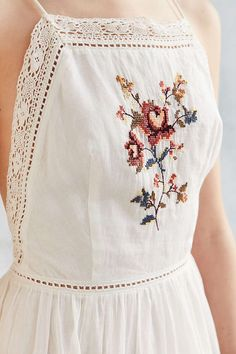 Kimchi Blue Needlepoint Apron Ivory Midi Dress - Urban Outfitters