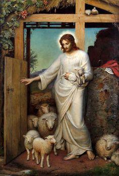 The good shepherd-Sybil Jesus Pastor, Jesus Our Savior, Jesus Is Lord, Jesus Christ Painting, Jesus Art, Religious Icons, Religious Art, Christ The Good Shepherd, Good Shepard