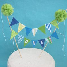 Cake topper birthday blue green  party fabric by Hartranftdesign, $28.50