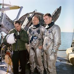 (1965) The Gemini-8 Astronauts David B. Scott and Neil A. Armstrong are suited up for water egress training aboard the NASA Motor Vessell Retriever in the Gulf of Mexico.