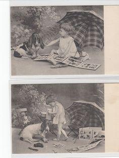 Spielkameraden Lot 2 AK um 1900 Halbnackter Junge mit Hund Dog Chien Boy 1601065