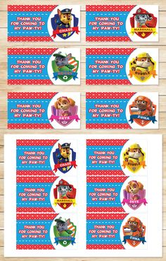 The perfect addition to your Paw Patrol Party!   These Paw Patrol Party Tags help make your party an unforgettable experience!    Instructions - Print on Full Page Sticker paper or card stock. - Use on goody bags, as labels, or wherever your creativity takes you!    Size - The size of each Paw Patrol Party Tags is 4.25 x 2.5 inches. - Paper size is 8.5x11 inches - There are 6 party Tags laid out per page.    Included - This listing includes 1 High resolution PDF.    Printable Ite...