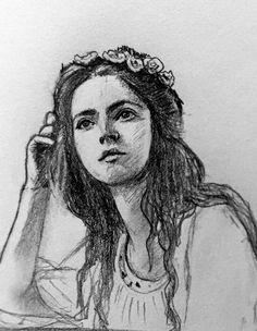#Dreamy , #girle , #sketch , #thinking by ola albarrak