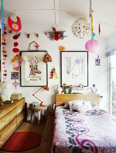the boo and the boy: eclectic kids' room with lots of color, texture and spirit. The furnishings are few but gorgeous, the child's artwork is displayed, the window is uncovered for flights of imagination and there's still room to play. Girl Room, Girls Bedroom, Bedroom Walls, Indie Bedroom, Bedroom Decor, Kid Bedrooms, Master Bedroom, Ideas Dormitorios, Deco Kids