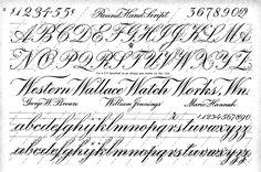 alphabet rond hand script, calligraphy