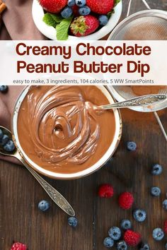 Creamy and Delicious this Chocolate Peanut Butter Dip is perfect for a easy healthy delicious snack or dessert when served with fresh fruit. Only 104 calories and 5 Weight Watchers Freestyle SmartPoints! Chocolate Dipped Fruit, Chocolate Peanuts, Healthy Chocolate, Chocolate Desserts, Chocolate Chocolate, Delicious Chocolate, Ww Desserts, Dessert Dips, Dessert Recipes