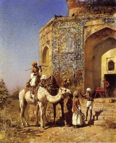 Old Blue-Tiled Mosque, Outside of Delhi, India by Edwin Lord Weeks