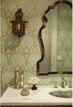 the loden green walls on this post--picture won't pin. I like this mint and gold too though