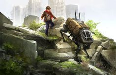 A boy and his dog by sandara on DeviantArt Boston Dynamics, Post Apocalyptic Art, Post Apocalypse, Story Inspiration, Story Ideas, Sci Fi Art, Big Dogs, Art Pictures, Creative Art