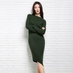 4800 мода женщины свитера и пуловеры Sueter роковой зима трикотажные трикотажные кашемир шерстяной трикотаж платья негабаритных дешевыекупить в магазине AdohonнаAliExpress
