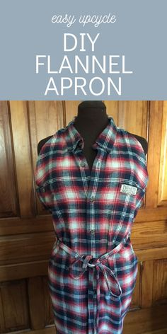 DIY Flannel Apron Using a Men's Shirt - Chambray Blues Sewing Sewing Blogs, Easy Sewing Projects, Sewing Tutorials, Sewing Patterns, Recycled Denim, Recycled Fabric, Easy Apron Pattern, Love Sewing, Sewing For Beginners