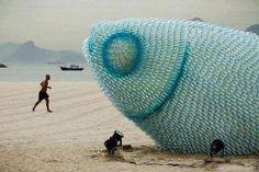A sculpture made of plastic bottles, Rio de Janeiro