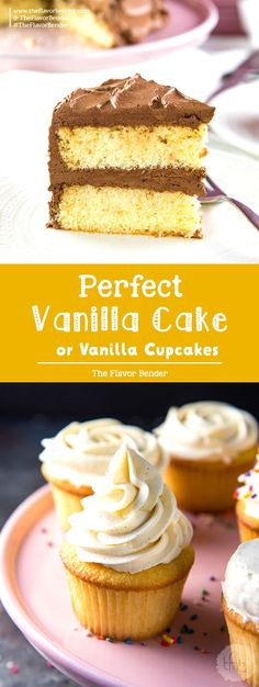 The Best Vanilla Cake (Soft and Buttery Vanilla Cake) – The Flavor Bender The Best Vanilla Cake – Delightfully soft, buttery, classic vanilla cake with a creamy chocolate or vanilla frosting! With heaps of tips to get perfect cakes every single time. Brownie Desserts, Easy No Bake Desserts, Cheesecake Desserts, Köstliche Desserts, Easy Cake Recipes, Best Dessert Recipes, Desert Recipes, Cupcake Recipes, Baking Recipes