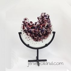 Amethyst purple (touch of scarlet) sculpture in art glass.  Designed by Jenie Yolland (other colours available) order through the website jenieyolland.com