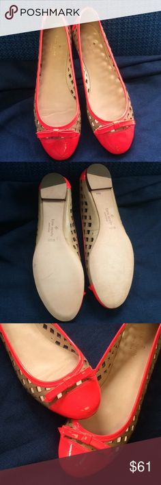 Kate Spade flats Sz 9 1/2 Kate Spade hot red/pink patent leather flats with tan open design on sides, bow on toe. Size 9 1/2 . Please see pictures they have an ink mark in the back . kate spade Shoes Flats & Loafers