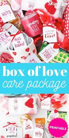 box of love care package PIN Valentine Special, Valentines For Kids, Valentine Day Gifts, Gifts For Your Boyfriend, Valentine's Day Diy, Diy Gifts, Packaging, Goodies, Box