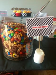 Nuts and Bolts. Hot wheels theme birthday party. MMs mixed with a variety of peanuts! Tags: Boys party, racing, cars