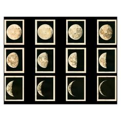 1910 moon phases set of 12 rare prints original antique celestial... (€225) ❤ liked on Polyvore featuring art, backgrounds, photos and pic