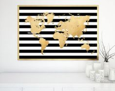 Printable world map in faux gold foil and black & white stripes, large gold world map, large world map, gold nursery map 004 - Black White And Gold Bedroom, Black White Gold, Bedroom Black, Black And Gold Living Room, White And Gold Decor, Gold Bedroom Decor, Gold Kindergarten, Gold Office Decor, Purple Office