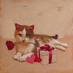"""Daily Paintworks - """"Holiday Cats! Valentines Day Cat"""" - Original Fine Art for Sale - © Diane Hoeptner"""