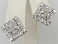 ESPO Art Deco Style Cubic Zirconia Sterling Silver Pierced Earrings ESPOSITO #ESPO #Cluster