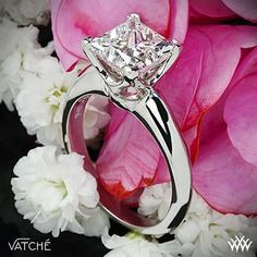 "Vatche ""5th Avenue"" Solitaire Engagement Ring for Princess Cut Diamonds ---the ring of my dreams love a princess cut diamond ugh #princesscutring #diamondsolitairering"