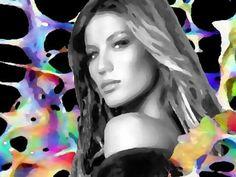 Donna b/n - colore su fondo nero