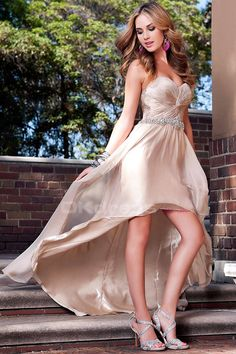 Sweetheart Pleated Bodice Chiffon High Low Prom Dresses - by OKDress UK Strapless Prom Dresses, High Low Prom Dresses, Formal Dresses, Chiffon, Cocktail, Designer Prom Dresses, Pleated Bodice, Girl Fashion, Party Dress