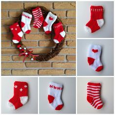 """Free knitting pattern for little Christmas stockings. Knit flat on 2 needles. 5 1/2"""" tall using DK yarn. Pattern on the stockings is added at the end using duplicate stitch. Tutorial included."""