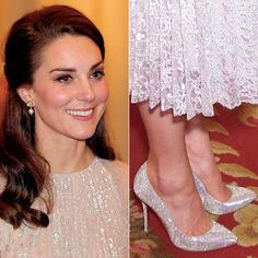 """cambridgeinspiration: """"A closer look upon the sparkly dress and shoes the Duchess of Cambridge wears to the reception in celebration of the UK-India Year of Culture at Buckingham Palace 
