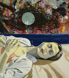 Melting Away into Nothingness, 2013, Oil on canvas, acrylic, and silkscreen ink on metal ceramic plate, 76 x 68 inches   © David Salle/Licensed by VAGA, NY, NY.