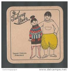 TUBORG DANISH FOLKLORE GREENLAND BEER MAT COASTER Danish Beer, Sous Bock, Beer Mats, Beer Coasters, Folklore, Trays, New Zealand, Vintage, Beer