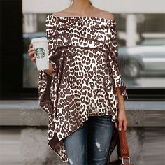 Sexy Women Off Shoulder Leopard Printed Blouse Asymmetric Shirts Casual Long Sleeve Tops Blouse Streetwear Blusas De Mujer Leopard Shirt, Leopard Print Top, Poncho Tops, Poncho Sweater, Knitted Poncho, Shirt Blouses, T Shirt, Look Fashion, Swag Fashion