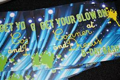 Wants and Wishes: Party planning: Neon/ Glow in the Dark Party 14th Birthday, Boy Birthday, Birthday Ideas, Birthday Stuff, Sweet Sixteen, Neon Party Themes, Techno Party, Bday Girl, Neon Glow