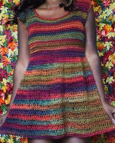 Dream Crochet Shoppe/ Fall Collection 2015. Striped Handmade Crochet Dress.