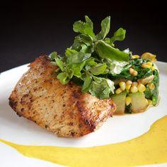 pescado del dia   hawaiin ono, chayote, sweet corn, spinach, aji-amarillo sauce
