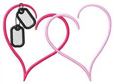 Grand Slam Designs Embroidery Design: Hearts With Tags 2.39 inches H x 3.28 inches W