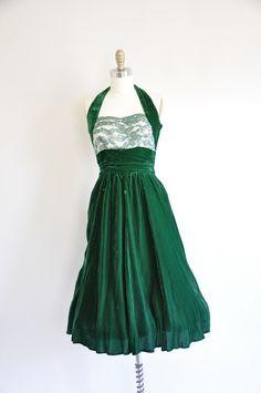 vintage 1950s cocktail dress/ 50s halter velvelt by seaofvintage