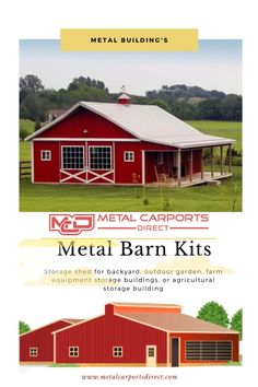 If you're looking for barn kits and storage shed for backyard, outdoor garden, farm equipment storage buildings, or agricultural storage building? Metal Carports Direct offers the best industry prices in North Carolina, US. Call Toll-free at Prefab Metal Buildings, Storage Buildings, Metal Carports, Metal Garages, Metal Barn Kits, Rv Shelter, Garden Farm, Steel Barns, Agricultural Buildings