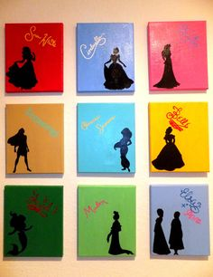 Disney Princess Silhouettes with Signatures by TheGatorPrincess. Custom made for every order!