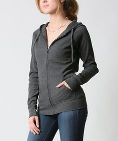 42POPS Charcoal Thermal Zip-Up Hoodie | zulily - $16.99 $45.00 size: size chart	  M L Product Description:  This chilly-weather basic features two pockets to keep hands warm and store essentials. Thermal fabric delivers all-day comfort.      54% cotton / 44% polyester / 2% spandex     Hand wash     Imported