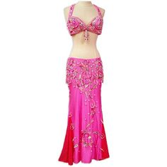 Pink Bra and Skirt Belly Dance Costume - At DancingRahana.com ❤ liked on Polyvore featuring costumes, belly dance, belly dancing, dresses, belly dancer costume, pink belly dancer costume, pink costume, belly dancer halloween costume and pink halloween costumes