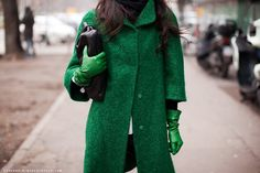 Matching green coat and gloves
